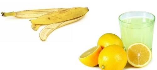 Vỏ chuối và nước cốt chanh làm sáng da, trị mụn cho da dầu