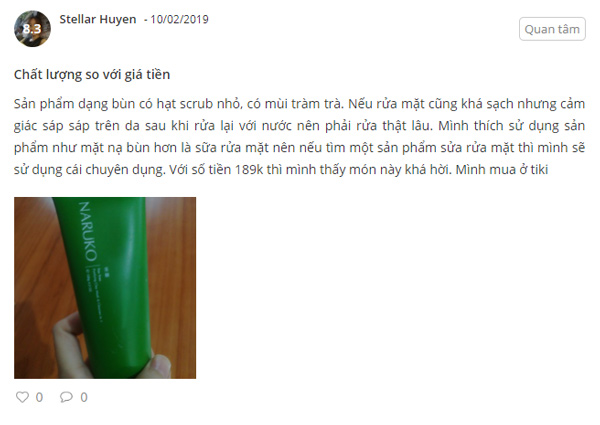 sữa rửa mặt naruko review