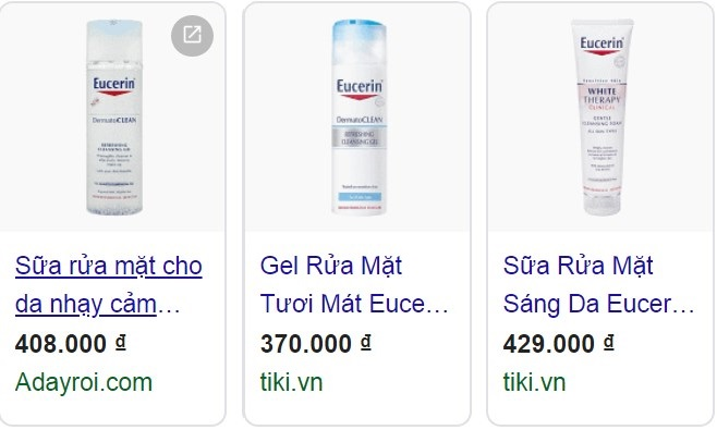 sữa rửa mặt eucerin giá bao nhiêu