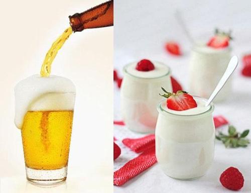 mặt nạ bia và sữa chua
