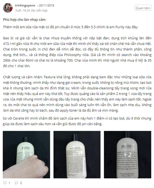 sữa rửa mặt philosophy purity review