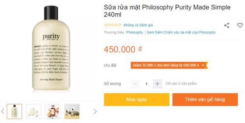 sữa rửa mặt purity giá bao nhiêu